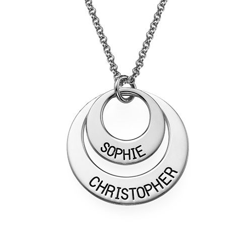 Silver Two Disc Engraved Mother's Necklace