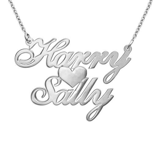 Silver Two Names & Heart Love Necklace