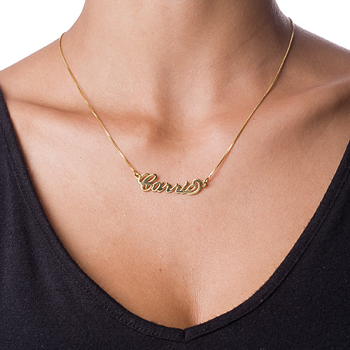 Small 18ct Gold-Plated Silver Carrie Name Necklace - 1