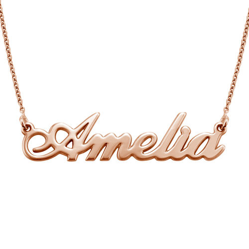 Small Classic Name Necklace in 18ct Rose Gold Plating - 1