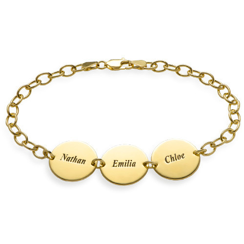 Special Gift for mum - Disc Name Bracelet with 18ct Gold Plating