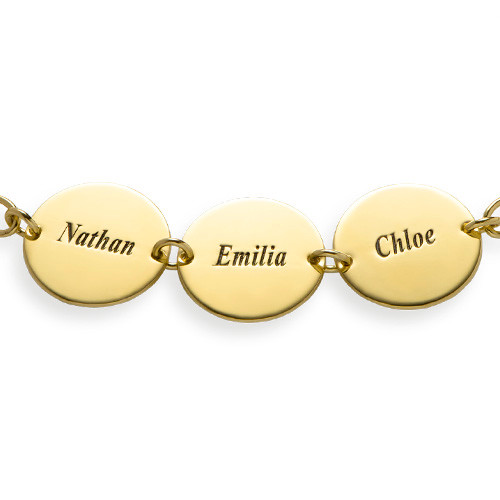 Special Gift for mum - Disc Name Bracelet with 18ct Gold Plating - 1