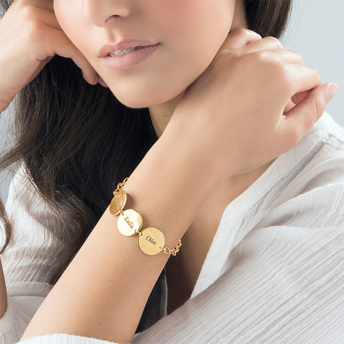Special Gift for mum - Disc Name Bracelet with 18ct Gold Plating - 2
