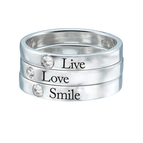 Stackable Birthstone Name Ring - 3