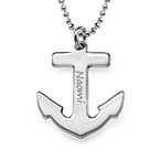 Sterling Silver Engraved Anchor Necklace