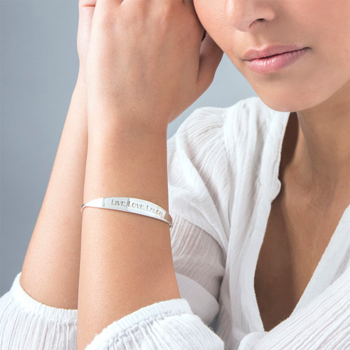 Sterling Silver ID Bangle Bracelet - 1