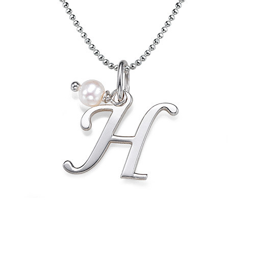 Sterling silver initial necklace with birthstone mynamenecklace ie sterling silver initial necklace with birthstone aloadofball Choice Image