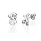 Sterling Silver Initial Stud Earrings