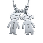Sterling Silver Mother's Necklace with Engraved Children Charms