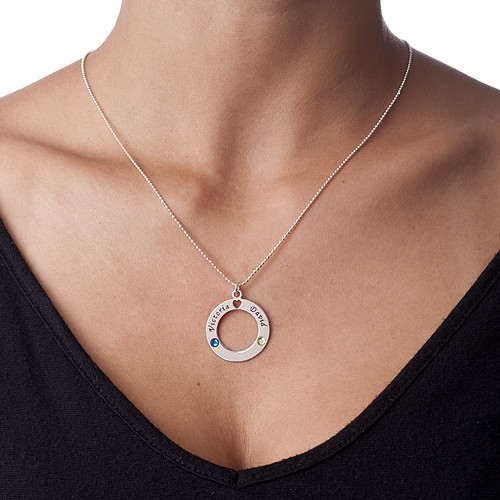 Silver Circle of Life Pendant with Birthstones - 1
