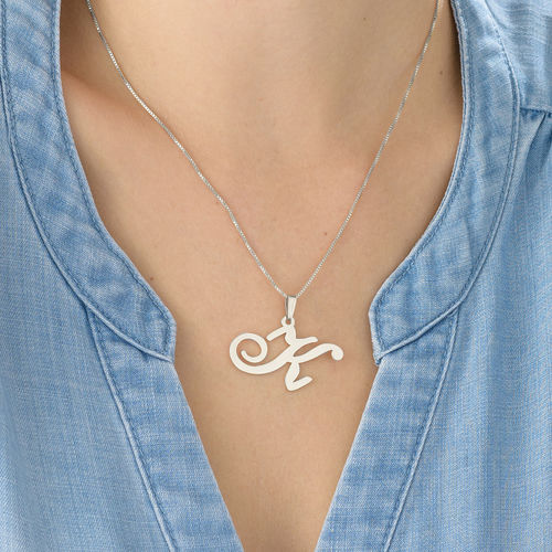 Sterling Silver Initials Pendant With Any Letter - 2