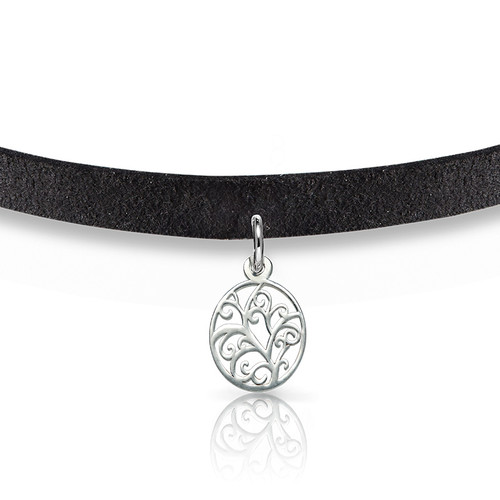 Suede Choker Necklace with Tree Charm - 1