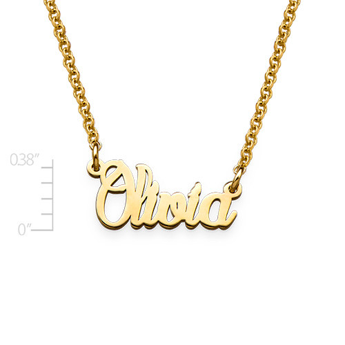 Tiny Name Necklace in Gold Plated Extra Strength Silver