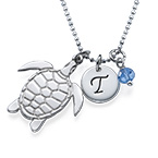 Turtle Necklace with Initial and Birthstone