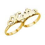 Two Finger Name Ring in Solid 14ct Gold