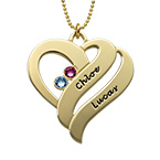 Two Hearts Forever One Necklace - 10ct Gold