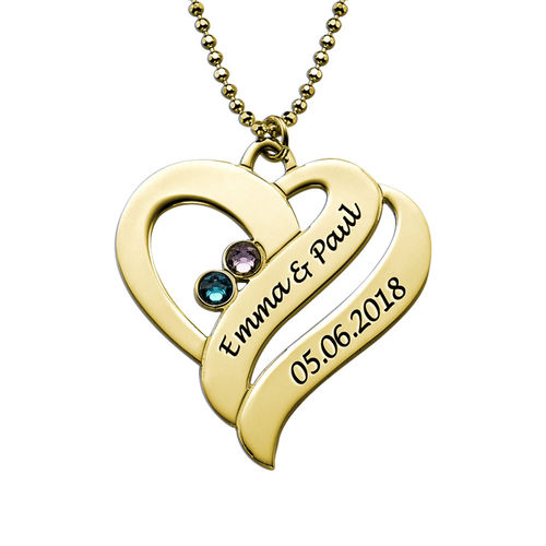 Two Hearts Forever One Necklace - 18ct Gold Plated - 1