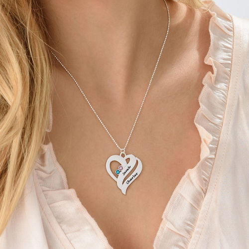 Two Hearts Forever One Necklace with Birthstones - 4
