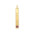 Vertical Bar Charm with Birthstone - Gold Plated