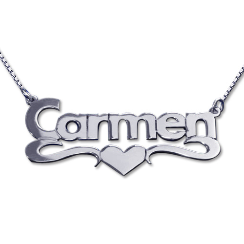 14ct White Gold Print Heart Name Necklace