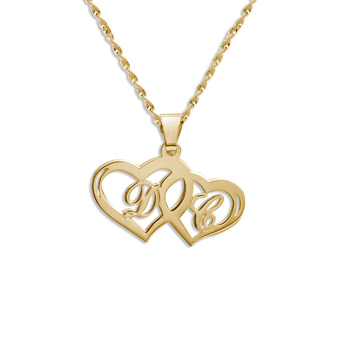 14ct gold couples hearts pendant mynamenecklace ie 14ct gold couples hearts pendant mozeypictures Images