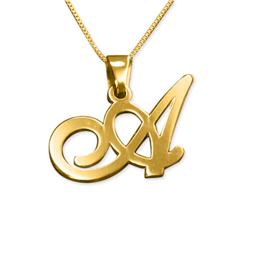 14ct gold initials pendant with any letter mynamenecklace ie 14ct gold initials pendant with any letter aloadofball Image collections