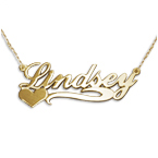 Side Heart 14ct Gold Name Necklace