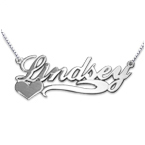Side Heart 14ct White Gold Name Necklace