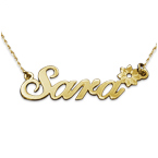 14ct Gold Flower Name Necklace