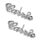 Sterling Silver Name Stud Earring with Crystal