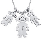 Mum and Children Charms Necklace