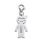 Personalised Silver Boy Pendant on Lobster Clasp