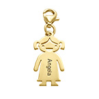 Gold Plated Engraved Girl Pendant on Lobster Clasp