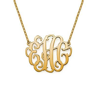 Large Monogram Necklace in 18K Gold Plating