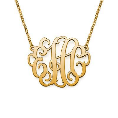 XL Monogram Necklace in 18K Gold Plating