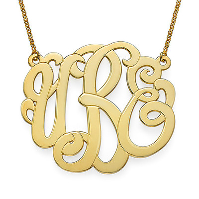 Gold Plated XXL Premium Monogram Necklace