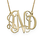 10k Gold Celebrity Monogram Necklace
