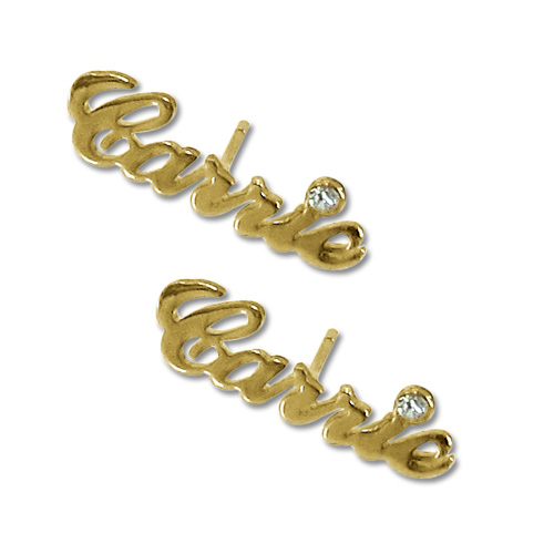 14k Gold Personalized Name Stud Earring With Crystal