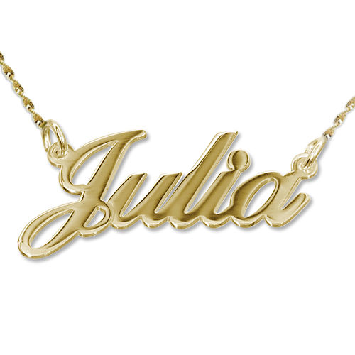 14k gold classic name necklace with twist chain