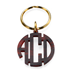 Acrylic Block Monogram Keychain with Gold Plated Key Ring