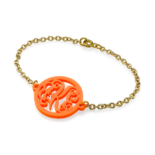 My Name Necklace Jewel-Acrylic Monogram Bracelet with Gold Plated Chain at Sears.com