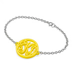 Acrylic Monogram Bracelet with Sterling Silver Chain