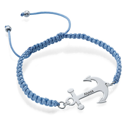 Anchor Bracelet with Engraving and Shamballa Cord