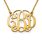 Celebrity Monogram Necklace in 24k Gold Plating