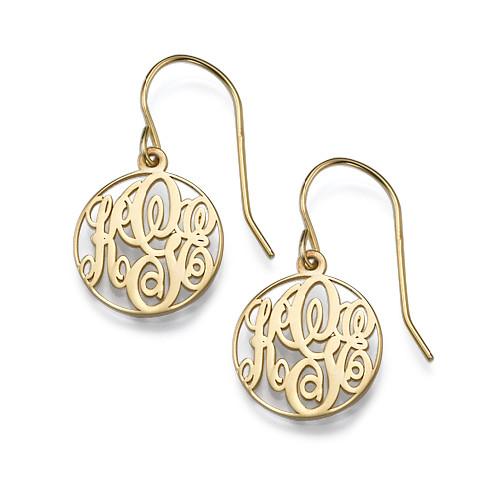 Circle Monogrammed Earrings In 18k Gold Plating