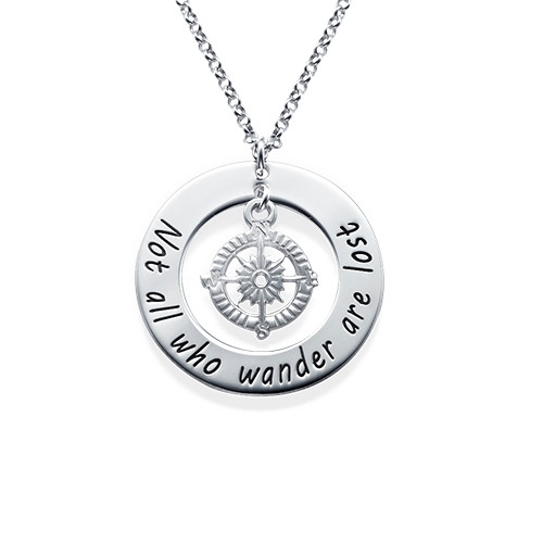 Compass Necklace with Engraved Disc - Click to Buy!