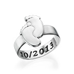 Engraved Baby Feet Ring