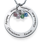 Engraved Circle Necklace with Hanging Birthstones