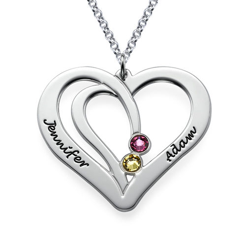 Engraved Couples Birthstone Necklace in Silver