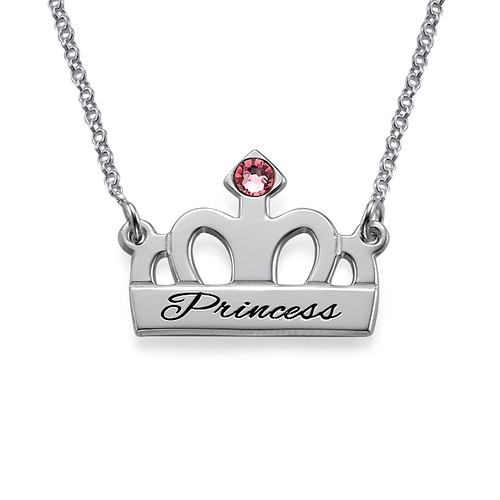 Engraved Crown Necklace in Silver
